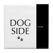dog side 8 black white Tile Coaster