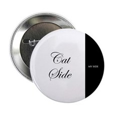 "cat side 9 black white 2.25"" Button (10 pack)"