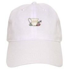 Coffee Cup And Rose Baseball Baseball Cap