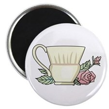Coffee Cup And Rose Magnets