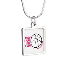 Play Basketball Like a Gir Silver Square Necklace