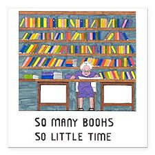 """Unique Books reading Square Car Magnet 3"""" x 3"""""""
