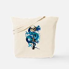Blue Dragon Skull Tote Bag
