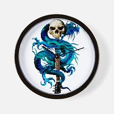 Blue Dragon Skull Wall Clock