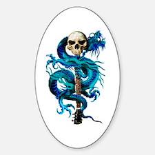 Blue Dragon Skull Oval Decal