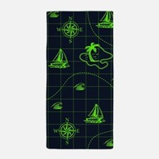 Neon Green and Navy Blue Nautical Map Beach Towel