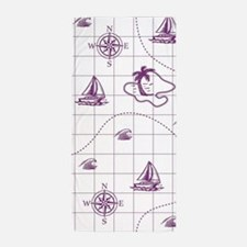 Purple and White Nautical Map Beach Towel