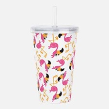 Cute Flamingo beach Acrylic Double-wall Tumbler