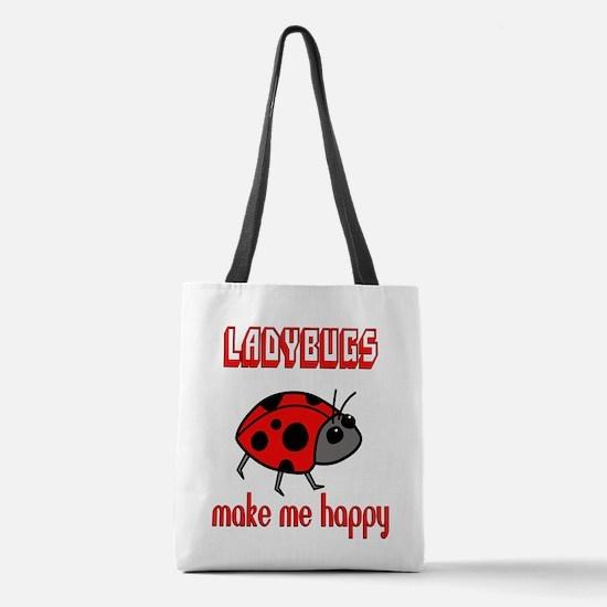 Ladybugs Make Me Happy Polyester Tote Bag