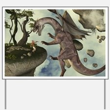 The fight, Dragon and dragon fighter Yard Sign