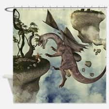 The fight, Dragon and dragon fighter Shower Curtai