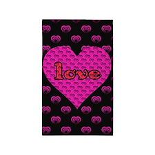 Pink Hearts Love Area Rug