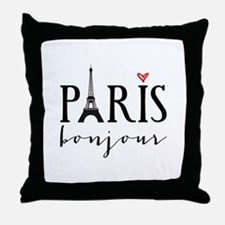 Paris bonjour Throw Pillow