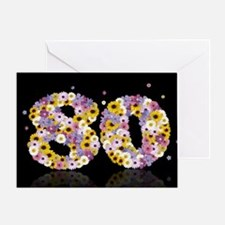 80th birthday card with flowery letters Greeting C