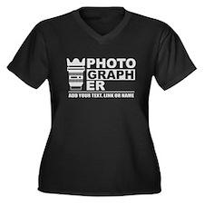 Custom Photo Women's Plus Size V-Neck Dark T-Shirt