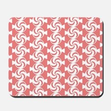 Light Coral and White Sweet Peppermint C Mousepad