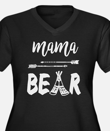 Cute Mama bear Women's Plus Size V-Neck Dark T-Shirt