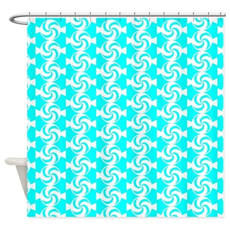 Aqua And White Sweet Peppermint Can Shower Curtain By Bimbys