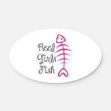 REEL GIRLS FISH Oval Car Magnet
