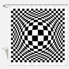 Expanded Optical Check Shower Curtain