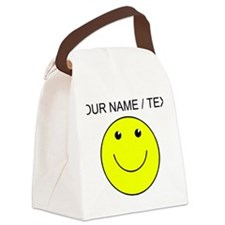 Custom Yellow Smiley Face Canvas Lunch Bag