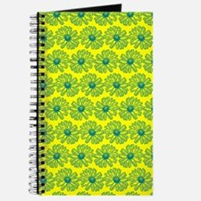 Yellow and Teal Gerbara Daisy Pattern Journal