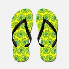 Yellow and Teal Gerbara Daisy Pattern Flip Flops