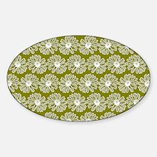 Olive Green Gerbara Daisy Pattern Sticker (Oval)