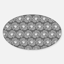 Gray and White Gerbara Daisy Patter Sticker (Oval)