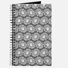 Gray and White Gerbara Daisy Pattern Journal