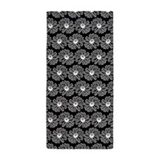 Black and White Gerbara Daisy Pattern Beach Towel