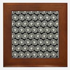 Black and White Gerbara Daisy Pattern Framed Tile