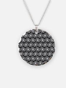 Black and White Gerbara Dais Necklace