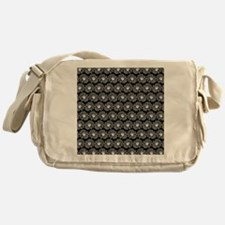 Black and White Gerbara Daisy Patter Messenger Bag