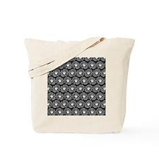 Black and White Gerbara Daisy Pattern Tote Bag