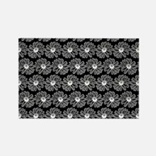 Black and White Gerbara Daisy Pat Rectangle Magnet