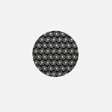 Black and White Gerbara Daisy Pattern Mini Button