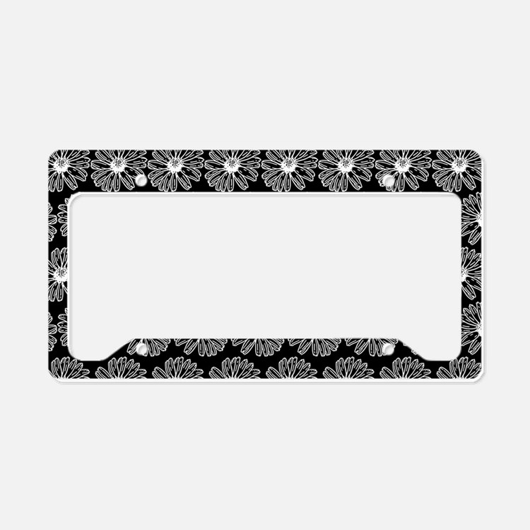 Black and White Gerbara Daisy License Plate Holder