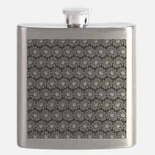 Black and White Gerbara Daisy Pattern Flask