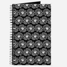 Black and White Gerbara Daisy Pattern Journal