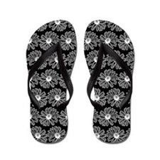 Black and White Gerbara Daisy Pattern Flip Flops
