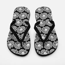 Black and White Gerbara Daisy Pattern Flip Flops