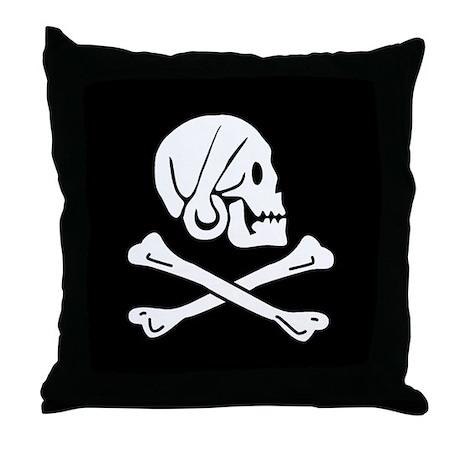 Profile Skull and Crossbones Throw Pillow