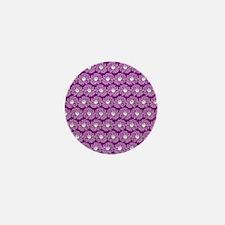 Purple and White Gerbara Daisy Pattern Mini Button