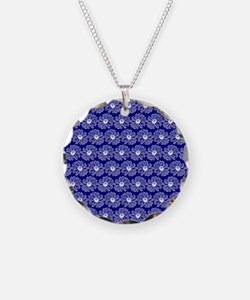 Blue and White Gerbara Daisy Necklace
