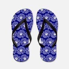 Blue and White Gerbara Daisy Pattern Flip Flops