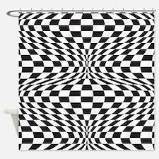 Op Art Checks Shower Curtain