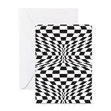Op Art Checks Greeting Cards