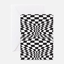 Op Art Checks Greeting Cards