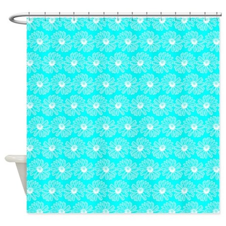 Aqua And White Gerbara Daisy Patter Shower Curtain By Bimbys